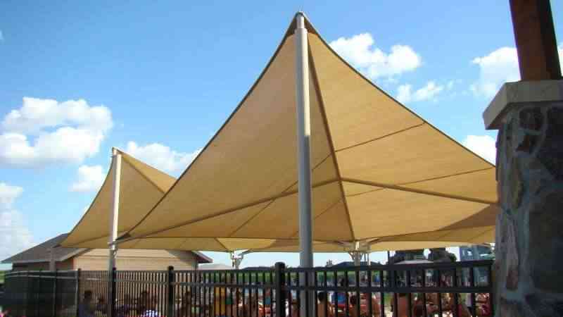 huge shade sails over a water park