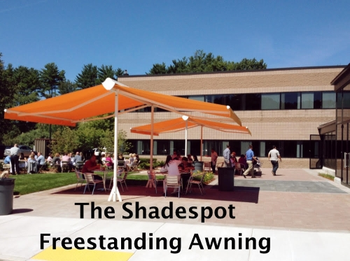 The completed installation of 2 Sunesta Shadespot freestanding awnings which not provide cool shade for all