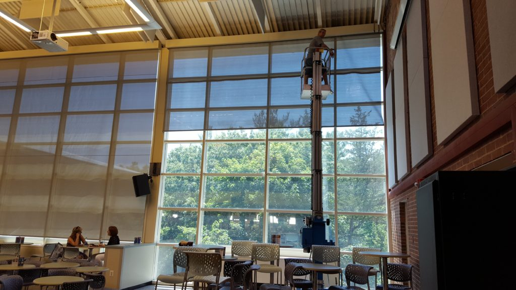 Roller screen install at the UNH MUB