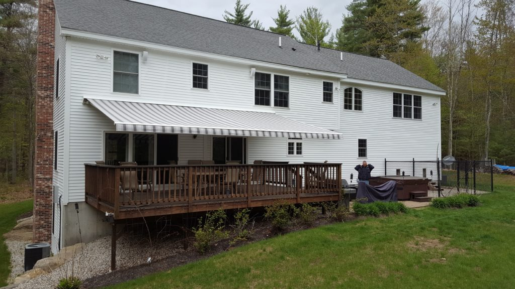 Awning over a deck in Lincoln, NH