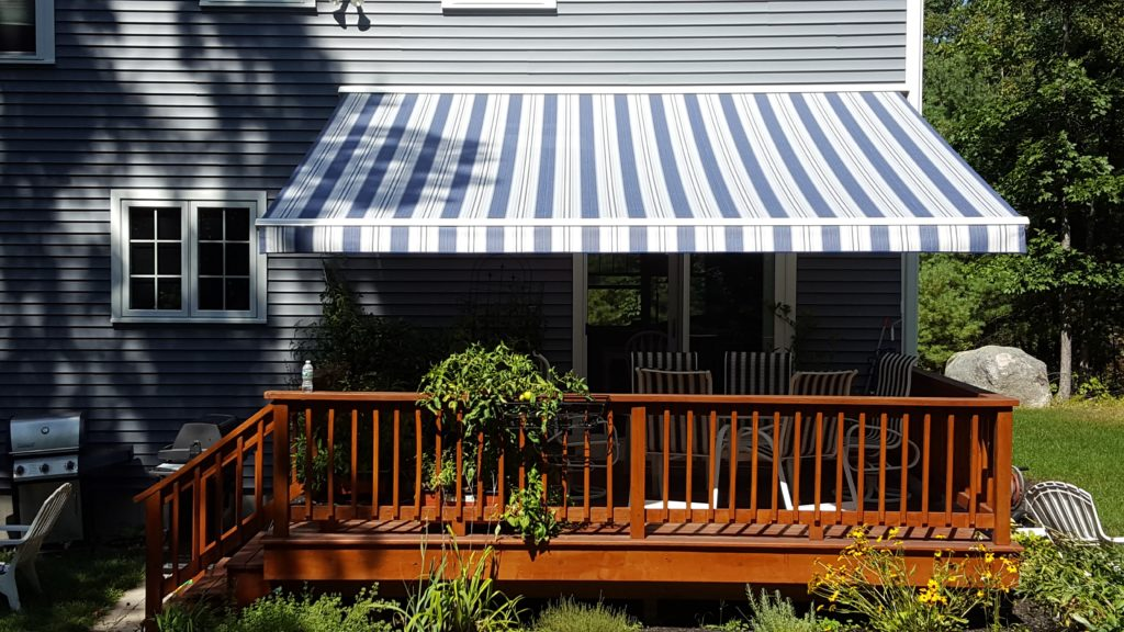 Sunesta cassette motorized retractable awning in Wind