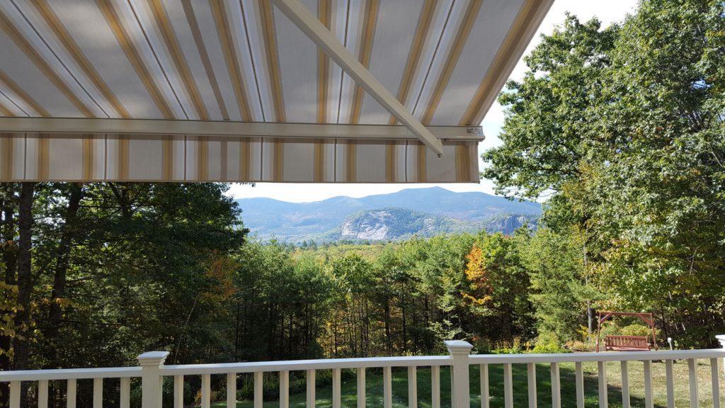Whitehorse and Cathedral Ledge view from under a Sunesta Awning in North Conway NH.