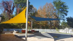 Shade sail design give perfect sun/shade mix