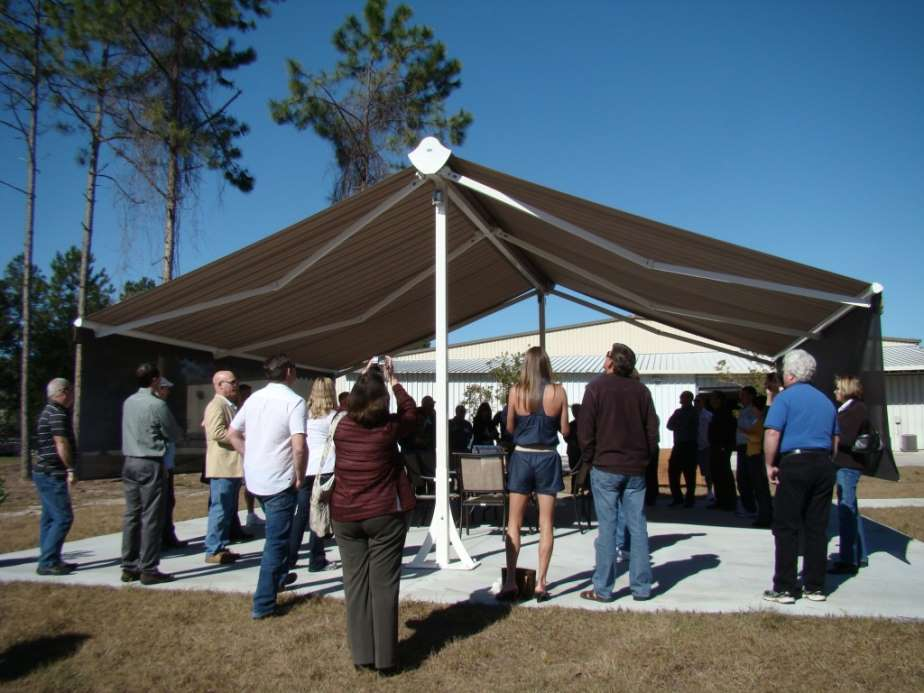 free standing awning at a trade show