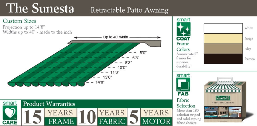 The sunesta awning top features