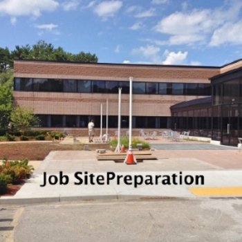 job site preparation for a Sunesta Shadespot installation in Westford, Mssachusetts