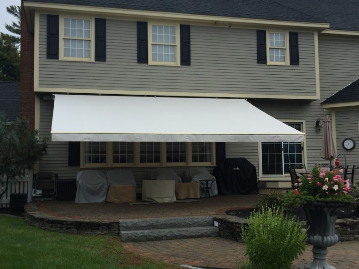 large white awning over a patio