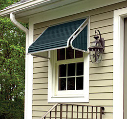 aluminum window awning provides shade